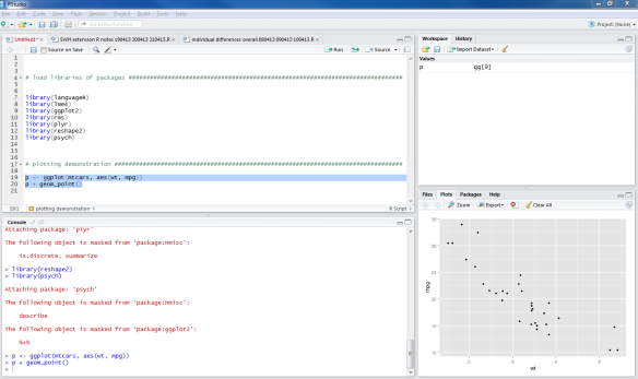 Getting started – R-Studio, ggplot, installing packages and